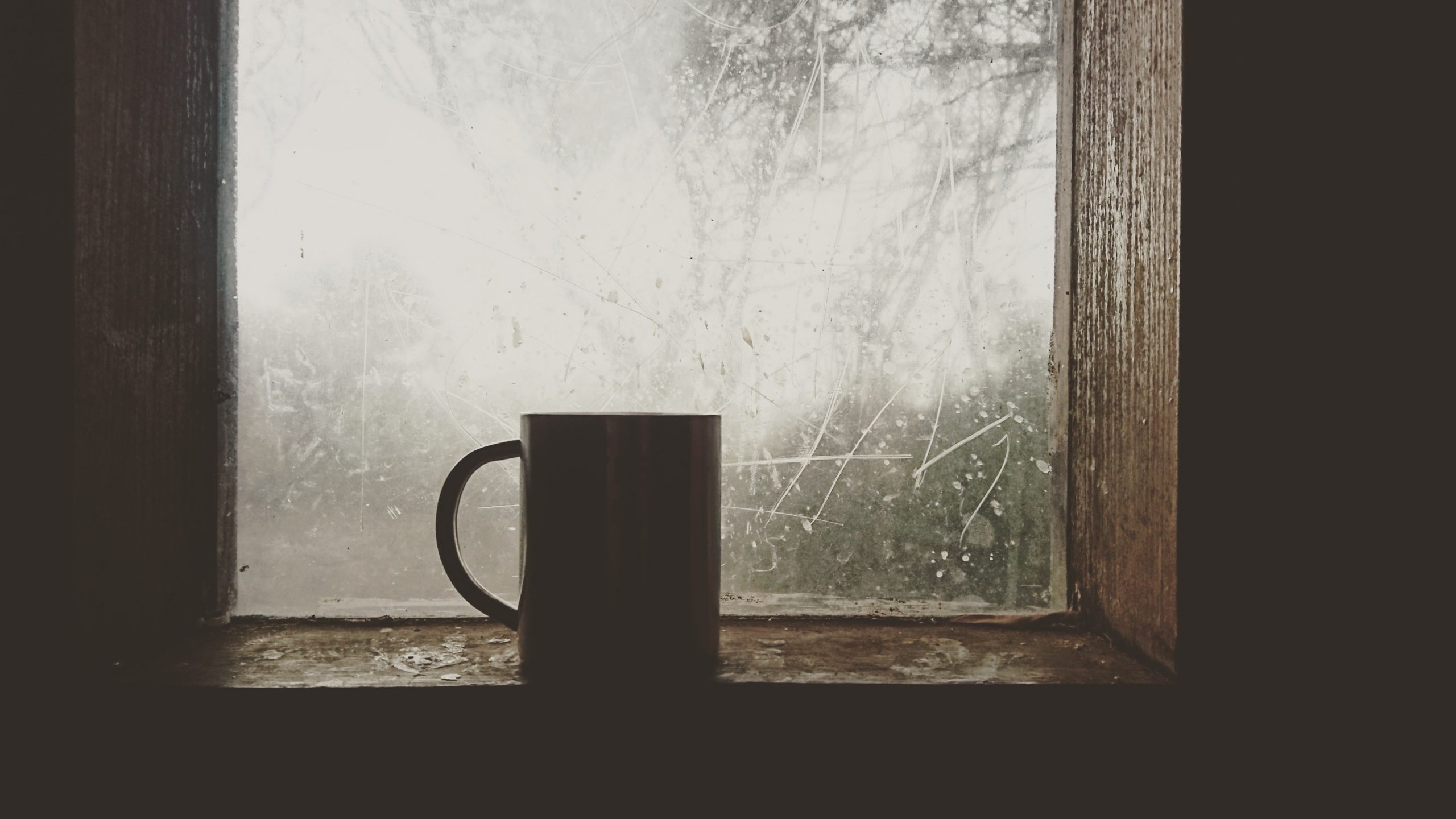 Mug by icy window; staying healthy this season.